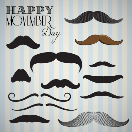 Retro  Vintage mustache set (Hand drawn) for happy movember day Vector