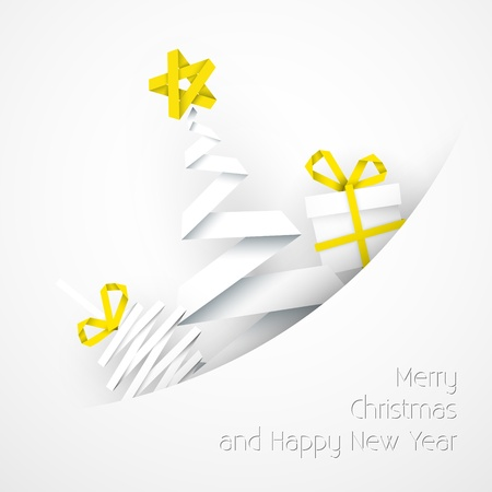 Simple white Christmas card with gift, tree and bauble made from paper stripe Vector