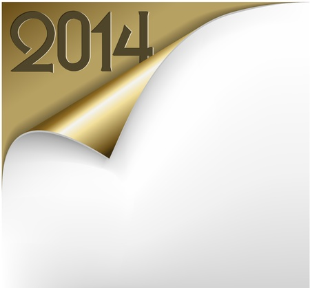 Christmas New Year Card - Sheet of golden paper with a curl showing 2014 Vector