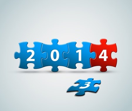 New Year 2014 card made from blue and red puzzle pieces illustration Vector