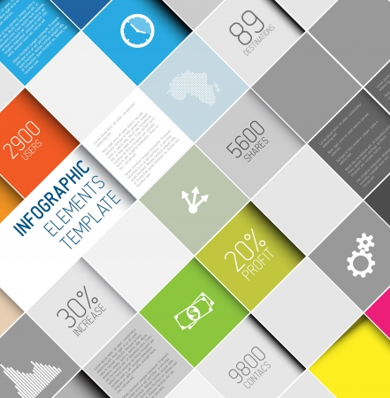 ui design: abstract squares background illustration  infographic template with place for your content