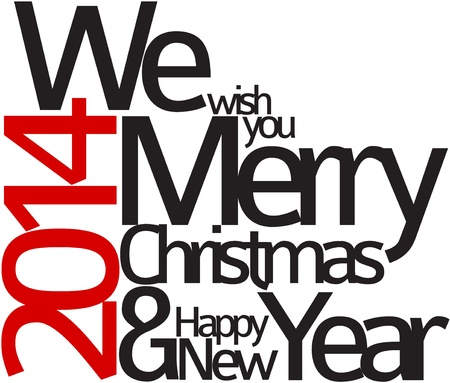 merry christmas text: Abstract typography Christmas card - season words Illustration