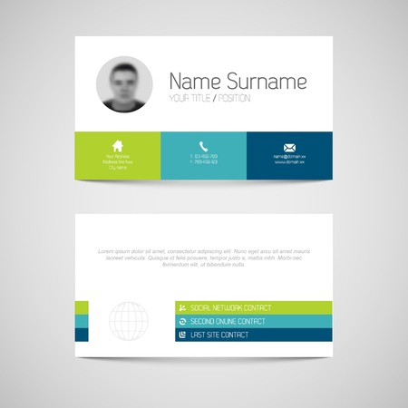 a card: Modern simple light business card template with flat user interface