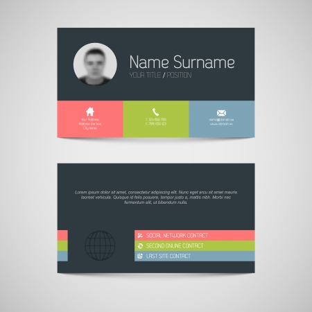 the information card: Modern simple dark business card template with flat user interface