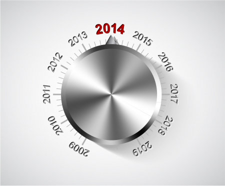 turn of the year: 2014 New Year card with chrome knob