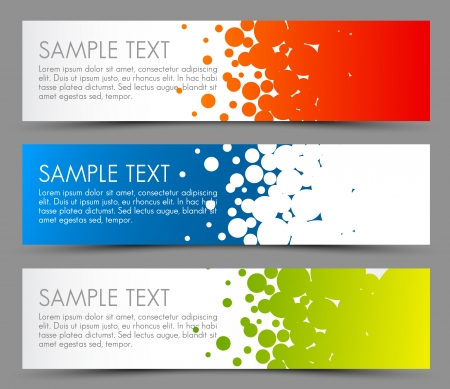 Simple colorful horizontal banners - with circle motive - red, blue and green 向量圖像