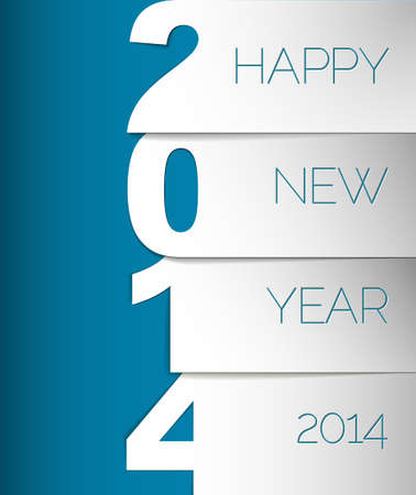 Happy New Year 2014 blue and white vector card  Vector