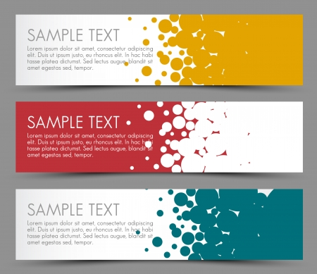 motive: Simple colorful horizontal banners - with circle motive - yellow, red and blue Illustration