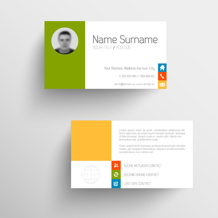 red and yellow card: Modern simple light business card template with flat user interface