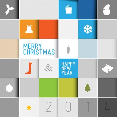 Simple modern vector christmas card with various seasonal elements in squared mosaic