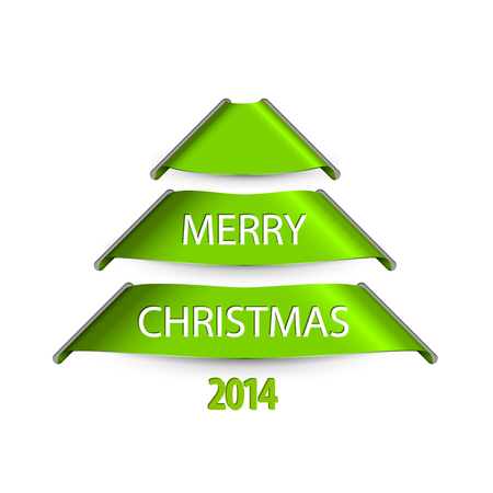 Simple vector christmas tree made from green paper stripes ribbons Vector