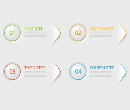 numbers abstract: One two three four - colorful flat vector progress icons for four steps