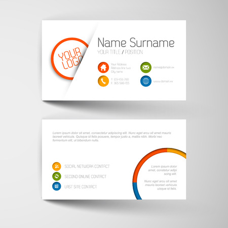 white card: Modern simple light business card template with flat user interface