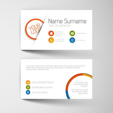 visitekaartje: Moderne eenvoudige lichte adreskaartjesjabloon met platte gebruikersinterface Stock Illustratie