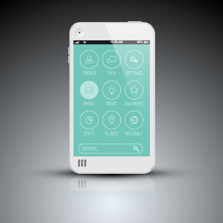 Modern mobile phone template with flat user interface (UI) Vector