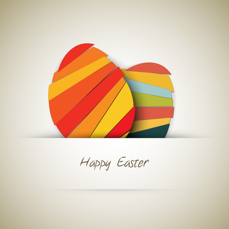 Vector Paper card with striped easter eggs Vector