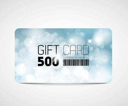 bar code: Modern gift card template - with blue flares and lights