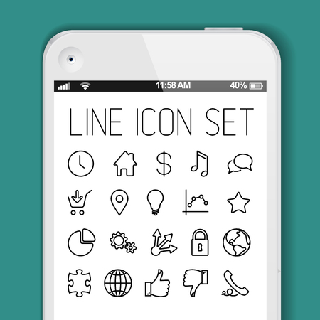 Vector simple Modern minimalistic thin icon collection for smart phone applications