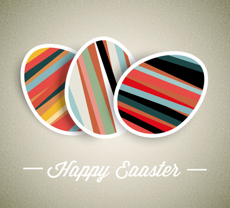 Vector retro Paper card with striped easter eggs  Vector