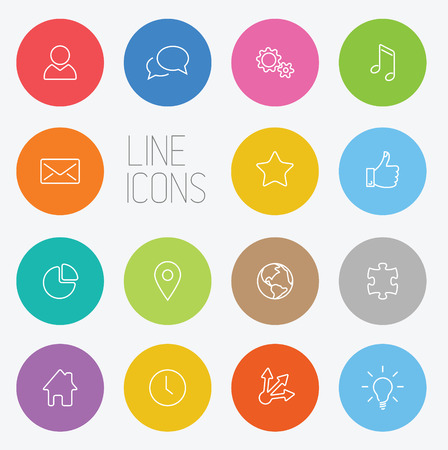 Vector Modern circle thin line icon collection Vector