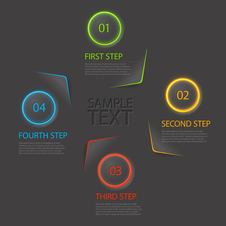 3 4: One two three four - colorful flat vector progress icons for four steps