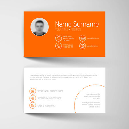 calling card: Modern simple orange business card template with flat user interface