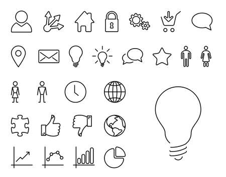 Vector Modern thin line icon collection Vector