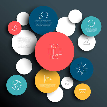 research paper: Dark Vector abstract circles illustration  infographic template with place for your content Illustration