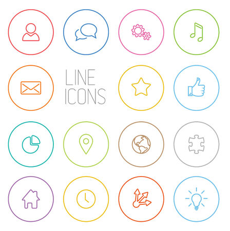 Vector Modern outline circle thin line icon collection Vector
