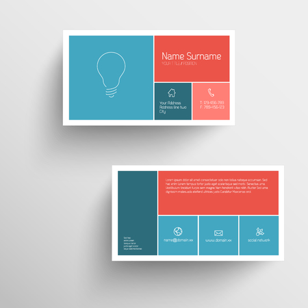 Modern simple business card template with flat mobile user interface (red and blue) Ilustração