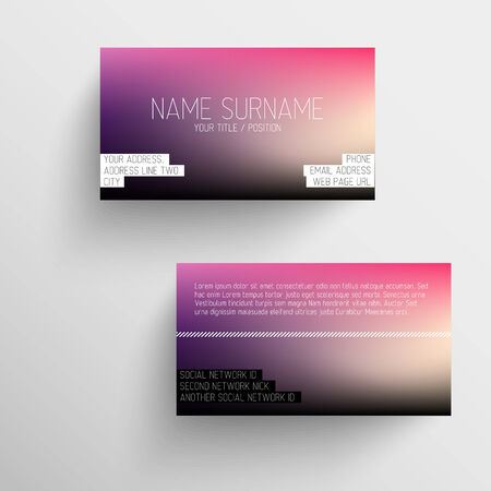 call card: Modern business card template with blurred background and white text