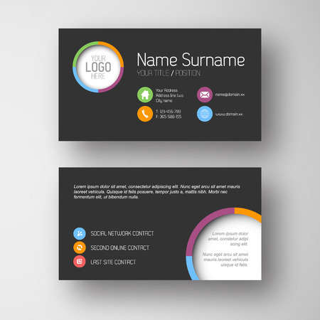 placeholder: Modern simple dark business card template with some placeholder
