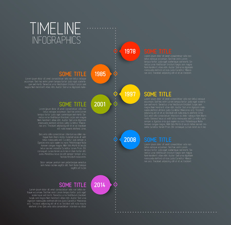 time line: Vector Dark Infographic timeline report template with icons