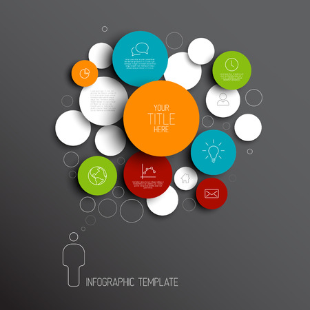 circle shape: Dark Vector abstract circles illustration  infographic template with place for your content Illustration