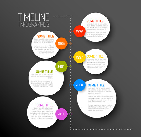 time line: Vector dark Infographic timeline report template with icons Illustration