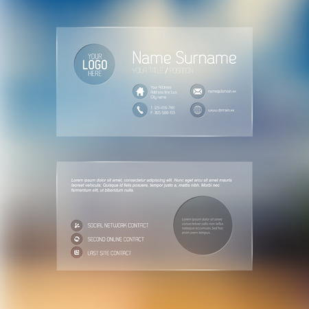 placeholder: Modern simple transparent business card template with some placeholder Illustration