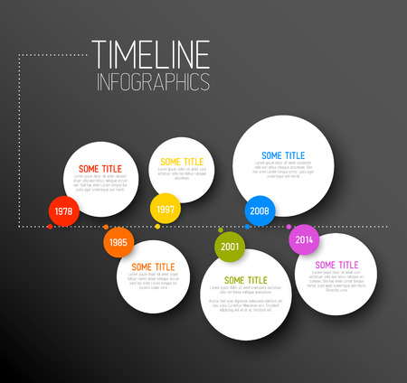 Vector dark horizontal Infographic timeline report template with icons Vector