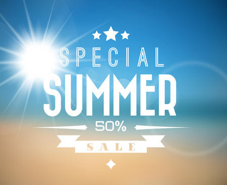 hotels: Vector abstract summer sale poster with beach background