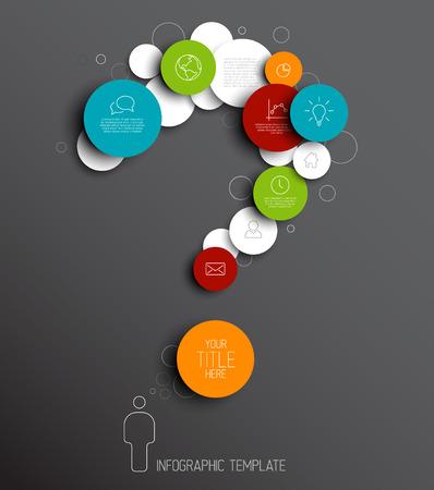 signo de interrogacion: Vector oscuro círculos abstractos ilustración  plantilla infografía con lugar para el contenido