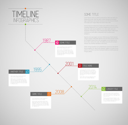 schedule reports: Vector Infographic diagonal timeline report template with icons