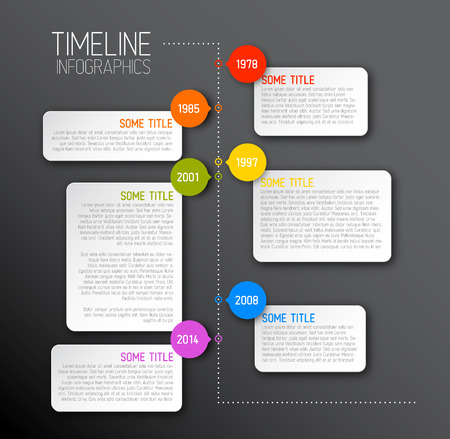 Vector dark Infographic timeline report template with icons Vector