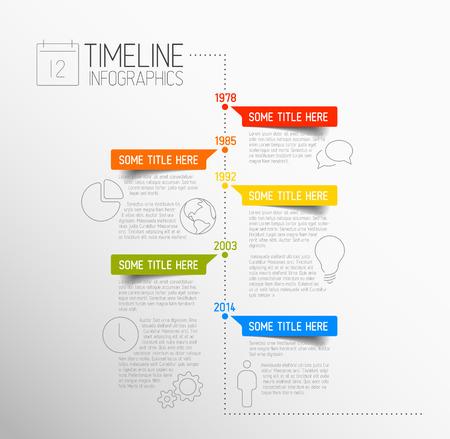 informe: Vector Infografía plantilla de informe de línea de tiempo con iconos Vectores