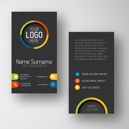 cards: Modern simple dark vertical business card template with some placeholder