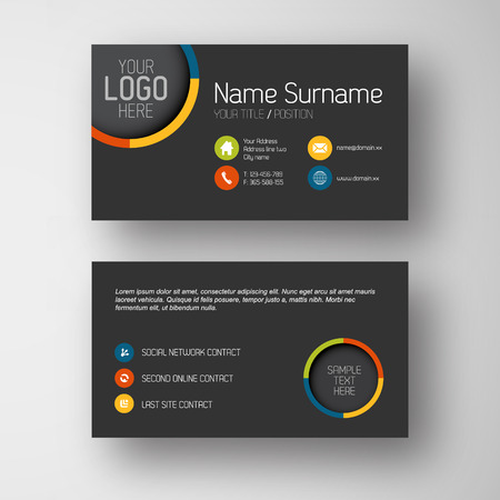 Modern simple dark business card template with some placeholder Vector