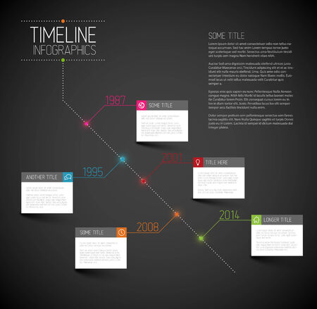 Vector Infographic dark diagonal timeline report template with icons Vector
