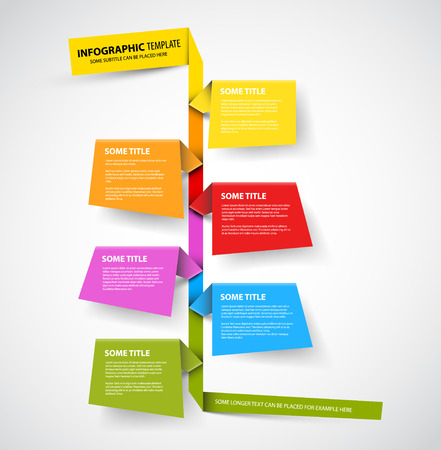 poster background: Vector Infographic timeline report template made from colorful papers
