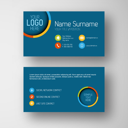 Modern simple blue  business card template with some placeholder Illustration