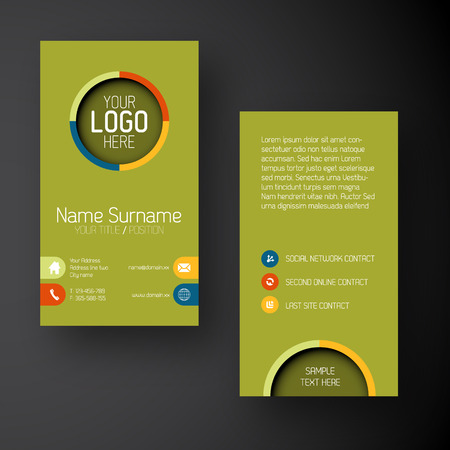 Modern simple green vertical business card template with some placeholder Vector