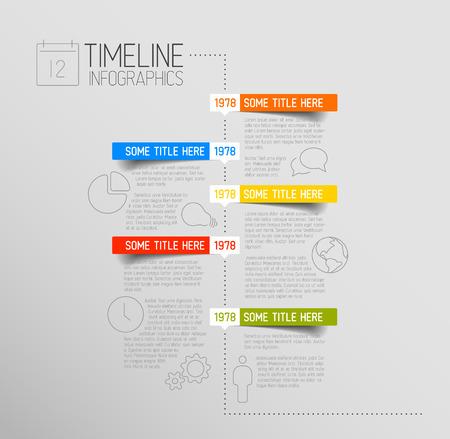 Vector Infographic tijdlijn rapport sjabloon met pictogrammen en afgeronde labels Stock Illustratie