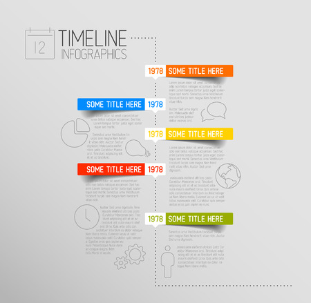 label: Vector Infographic timeline report template with icons and rounded labels Illustration